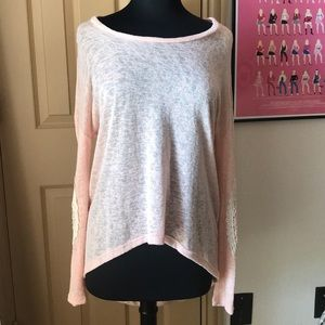 Lightweight sweater with lace elbow detail